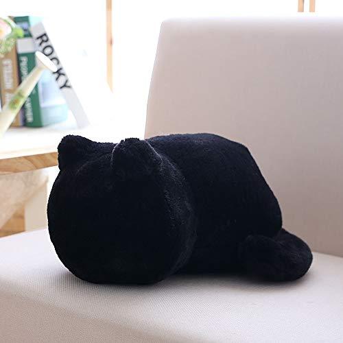 Plüschtier Katzenkissen Weichem Plüsch Katze Form Kissen kissenpolster Sofa Spielzeug Sofa Kissen Sitzkissen Geschenk, Wohnkultur Geburtstagsgeschenk für Kinder 3 Farbe,33cm(Schwarz)