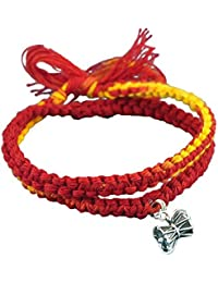 fourseven Red & Yellow Moli Bracelet with 925 Sterling Silver Damru Charm Pendant for Men & Women