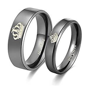 Yellow Chimes His or Hers Matching Set His Queen Her King Titanium Stainless Steel Couple Bracelet Rings for Girls & Boys (2 Pcs) (Black & Black Couple Rings)