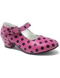 Zapato Flamenco Baile sevillanas niña,Mujer Rojo,Rosa Lunares