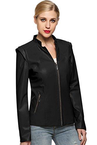 MEXI Frau schlank passen Synthetik Leder Jacke kurz Mantel M-XXXL Stil 01-Schwarz
