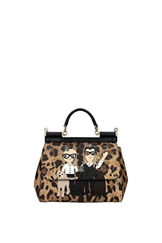Handtasche Dolce&Gabbana Damen Stoff Leopard und Mehrfarben BB6002AB5168S193 Braun 12X21X26 cm (Leopard Gabbana)