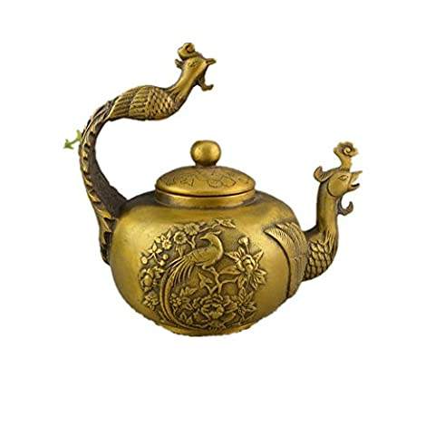 PENG Chinese antique bronze collection home decoration crafts antique old brass phoenix teapot
