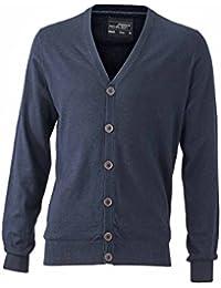 JAMES & NICHOLSON Men's Plain V-Neck Long Sleeve Cardigan