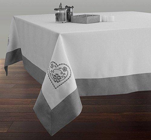 Nappe Brodée Rectangle 150x240 cm Anti-taches Blanche avec ourlet gris - taille : Rectangle 150x240 cm