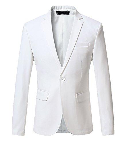 Ouye Herren Weiß Hochzeit Freitzeit Slim Fit Sakko Blazer 6X-Large (Weiss Anzug Herren)
