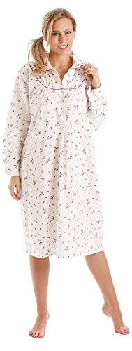 Donna floreale di cotone spazzolato Winceyette camicia da camicia da notte Pink Trim