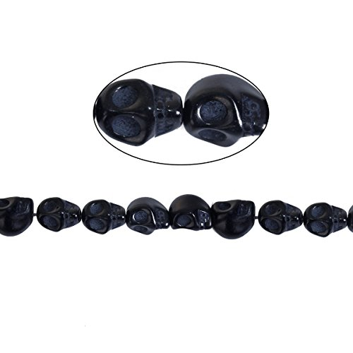 Sadingo 1 Strang Howlithperlen Perlen Totenköpfe, Schädel, Skull - 10 x 8 mm - Loch ca.: 1 mm - Schwarz - ca. 35 Perlen