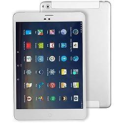 Tablette Tactile 4G-SIM Android WiFi - Winnovo M798 7.85 Pouces Quad-Core Tablette Téléphone 1GB RAM+ 16GB Stockage 1024x768 IPS Écran Bluetooth GPS Netflix myCANAL(Argent)