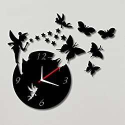 Pixnor Crystal DIY 3D Miroir Horloge murale Ange Papillon étoiles et Figurine Home Décoration Moderne Salon Horloge murale (Noir)