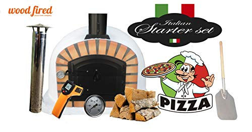 White Maxi Deluxe Extra Wood Fired Pizza Oven Starter Kit, Orange Arch, Black Door, 90cm