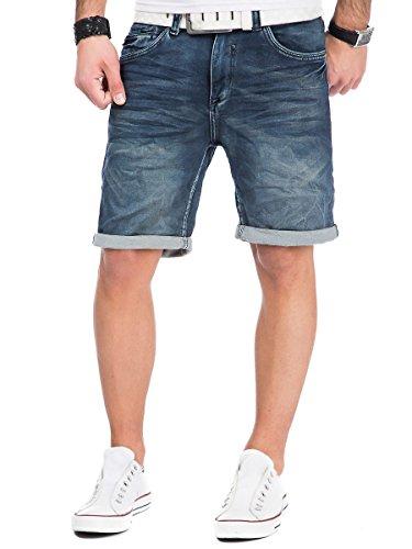 Urban Surface Jogg Jeans Shorts kurze Hose Bermuda Herren Denim Sweatpants Joggjeans Vintage Used Look Dark Blue - H-6KI30