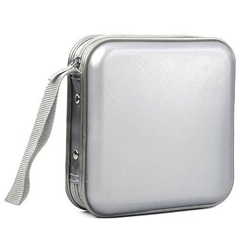 Accessotech Argent CD Dvd 40 Disque Transport Rangement étui coque portefeuille Support Bag Plastique Jeux disque