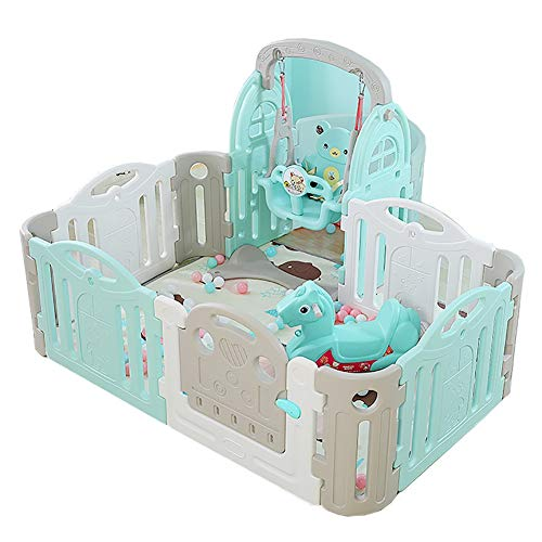 Baby playpen Portable with Swing,Indoor Safety Game Fence Safety Play Yard Children's Play Fence (color : Green and white)  Sugar-Bai
