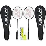 Yonex Beginner's Best Badminton Combo (GR 303 Aluminum Blend Racquet with Full Cover, Set of 2 + Mavis 200I Shuttlecock, Pack of 6)