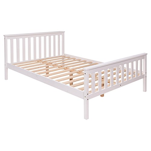 CASART Double Bed Solid Wooden Frame White Finish Beds Home Bedroom 4'6'' Sleep