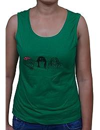 FICUSTER Women's/Girl's Sleevless Green Top