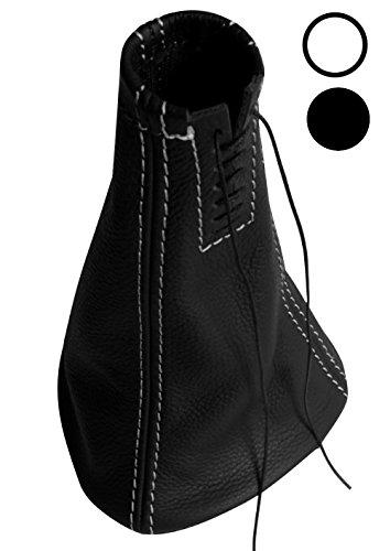 AERZETIX: Soufflet levier de vitesse en 100% CUIR véritable avec coutures/surpiqûres couleurs variables (blanches)