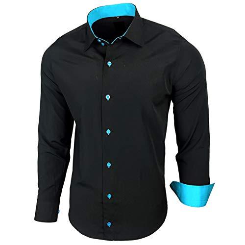 Baxboy Edel Dezent Schlicht Herren Hemd Herrenhemd Hemden Kontrast Langarm B-44, Farbe:Schwarz/Türkis;Größe:6XL