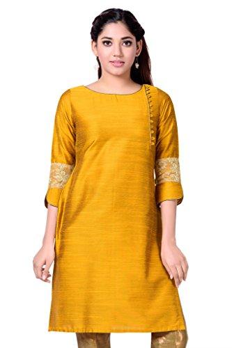 Studio Shringaar Golden Cotton Silk Kurti In Angrakha Style
