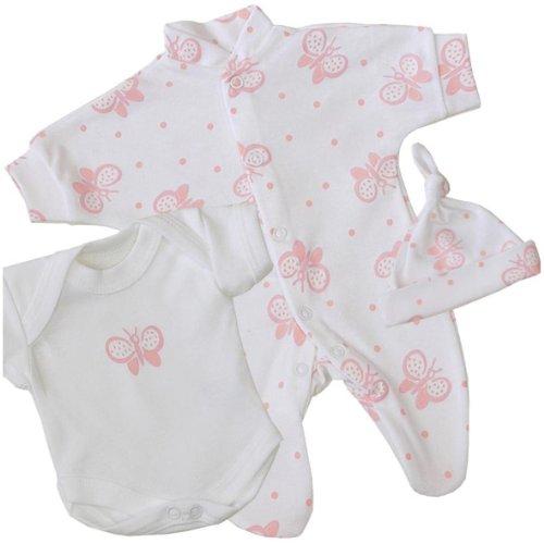 Premature Early Baby Girls Clothes 3 Piece Set - Sleepsuit, Bodysuit & Hat 1.5lb - 7.5lb BUTTERFLY P1