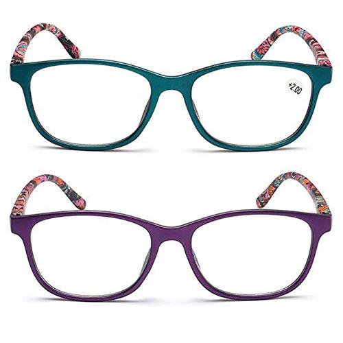 Inlefen 2er Set Lesebrillen, Brillen mit Blumenmuster, Fashion Leser für Damen und Herren