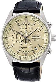 Seiko Chronograph with Tachymeter Leather Strap Watch, White, SSB383P1