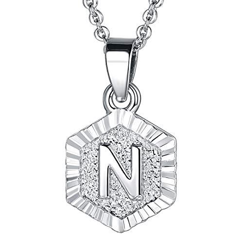 FOCALOOK Buchstabe N Anhänger Hexagon Tag mit 68cm Rolokette Anfangsbuchstabe Halskette für Damen Frauen Mädchen, platiniert