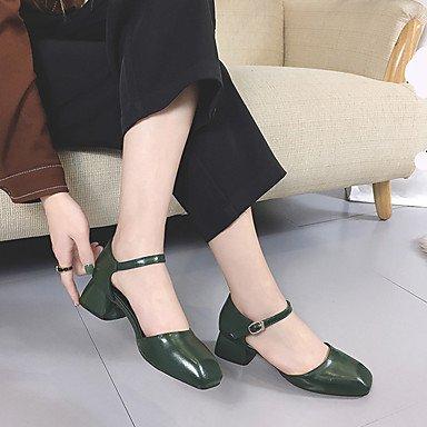 Lvyuan-ggx Femmes-casual-talons-strap-carré-pu (polyuréthane) - Vert Armée