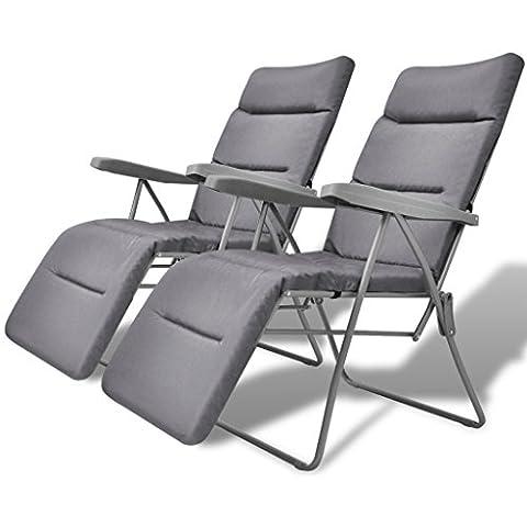 Festnight 2 Stücke Gartenstuhl Klappstuhl Gartenliege Klappbar Stühle mit Auflage für Garten Camping Grau