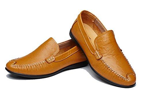 SONGYUNYAN Herren outdoor-Freizeit feste Leder Loafer Light Brown