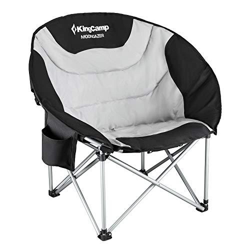 KingCamp Moon Chair Campingstuhl Campingsessel mit Getränkehalter und Kühltasche bis 150kg Belastbar