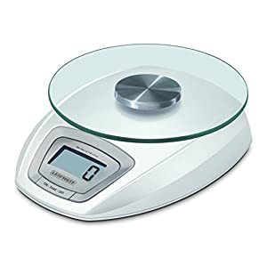 Leifheit digitale Küchenwaage, Tragkfraft bis zu 5kg, abnehmbare Wiegefläche aus Glas, Haushaltswaage mit Zuwiegefunktion, einfache Reinigung, elektronische Waage inkl. Batterien