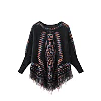 Yonglan Women Autumn/Winter Bat Sleeve Overcoat Knitted Faux Fur Printing Pullover Stylish Fringed Sweater Black