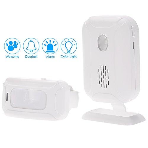Kkmoon wireless split benvenuto ospite campanello rilevamento del movimento sensore pir sistema di allarme con ricevitore e trasmettitore per casa ufficio di protezione di sicurezza