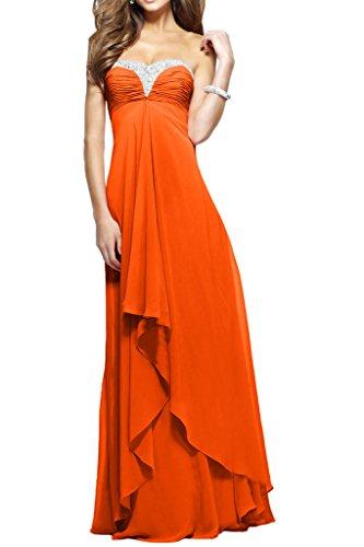 Victory Bridal Herrlich Herzausschnitt Steine Abendkleider Partykleider Abschlussballkleider Lang Orange