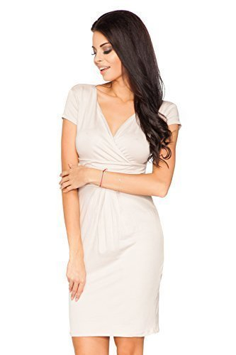 Futuro Fashion Femmes Élégante Soirée Enveloppant Mini Robe Col V Manches Courtes 8415 Tailles 8-18 UK Beige