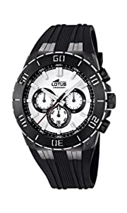 Reloj cronógrafo Lotus 15802/1 de cuarzo para hombre con correa de caucho, color negro