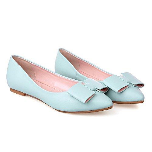 VogueZone009 Femme Couleur Unie Pu Cuir Non Talon Fermeture D'Orteil Pointu Tire Chaussures à Plat Bleu