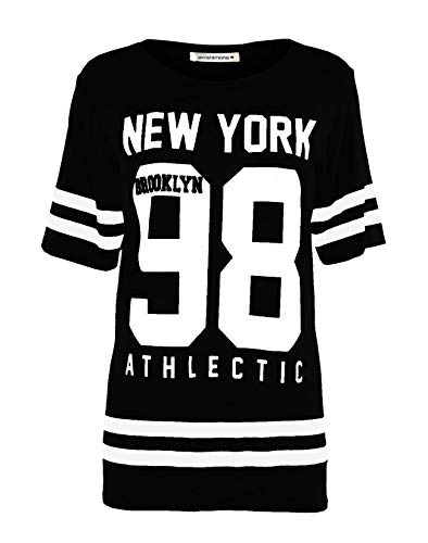 Janisramone Frauen Damen Baseball New York 98 Brooklyn Gestreifte Print überdimensional Ausgebeult T-Shirt Top