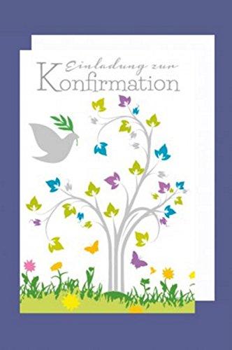Feste Feiern Einladung zur Konfirmation I 5 Teile Karten Einladungskarten Klappkarten C6 mit Briefumschlägen I Baum Ölzweig Taube mehrfarbig