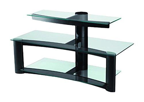Opera Quiklok Forenza - Escritorio 2 anaqueles en cristal transparente para TV/LCD-PLASMA 32/37', color negro