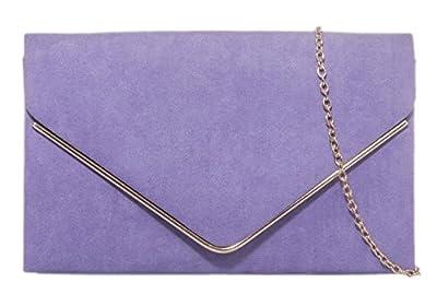 Girly HandBags Faux Suede Clutch Bag Envelope Metallic Frame Plain Design Evening