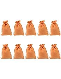 Phenovo 10pcs Bolsas de Joyas Regalo de Tela de Lino (Naranja)