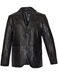 Lederblazer, Blazer, Sakko aus Lammnappa Leder in schwarz