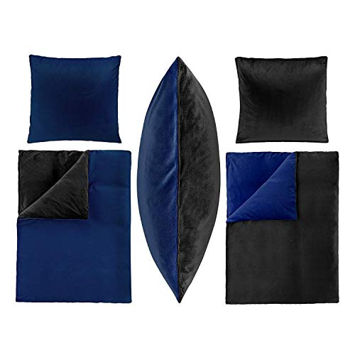 2-Teilige Bettwäsche Set Bett Bezug 135x200 cm Kopfkissen 80x80 cm PLÜSCH Coral Fleece Cashmere Touch Super Weich Soft Einfarbig Wende 2tlg UNI Dunkel Blau Schwarz