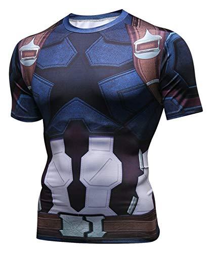 (PIZOFF Unisex 3D Druck Kurzarm T-Shirt Muskelshirt Superhero Kampfanzug Captain America AC109-03-M)