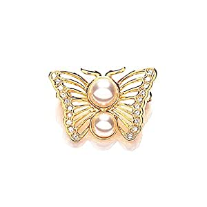 Meadow Gold Plated Swarovski Crystal and Pearl Butterfly Brooch