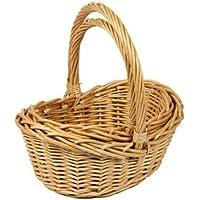 Woodluv Set of 2 Boat Shaped Wicker Hamper Storage Gift Basket, Natural