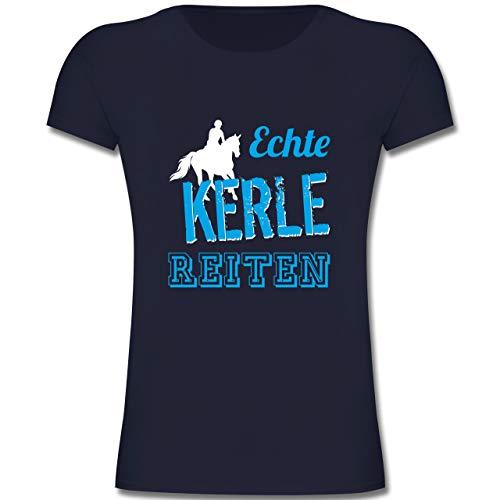 Sport Kind - Echte Kerle reiten - 152 (12/13 Jahre) - Dunkelblau - F131K - Mädchen Kinder T-Shirt